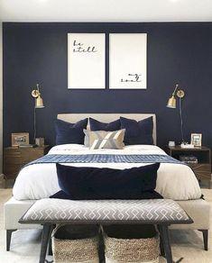 Blue Master Bedroom, White Bedroom Design, Modern Bedroom Decor, Trendy Bedroom, Living Room Modern, Bedroom Ideas, Scandinavian Bedroom, Living Rooms, Scandinavian Design