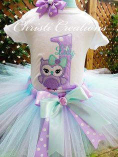 Owl Tutu Set Baby Girl 1st Birthday Tutu by ChristiCreations