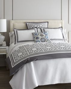 #HORCHOW Parish Bed Linens. For the master bedroom. Gray n white!!!