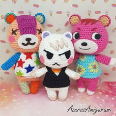 Stitches Marshal and Cheri by AzurasAmigurumi on DeviantArt Yarn Animals, Crochet Animals, Crochet Toys, Free Crochet, Animal Crossing Plush, Animal Crossing Villagers, Cute Crafts, Yarn Crafts, Amigurumi Patterns