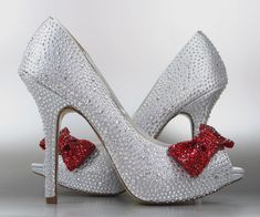 Wedding Shoes -- Silver Rhinestone Covered Platform Peep Toe Wedding Shoes with Red Rhinestone Covered Bow on Toe
