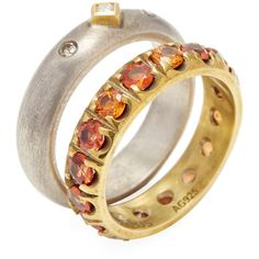 Suneera Women's 18K Yellow Gold, Sterling Silver, Orange Sapphire &... ($900) ❤ liked on Polyvore featuring jewelry, rings, multi, orange sapphire ring, 18k gold ring, diamond rings, gold eternity rings and sapphire diamond ring