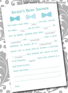 Baby Shower Boy Mad Lib Game and Guestbook. by KreativeCupcake Baby Shower Fun, Shower Party, Baby Shower Parties, Baby Showers, Nautical Party, Baby Sprinkle, Reveal Parties, Future Baby, Gender Reveal