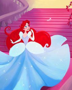 Disney Ariel Cinderella Mash Up by Dylan Bonner Disney Princess Art, Disney Fan Art, Disney Love, Disney Magic, Cinderella Disney, Disney Style, Cinderella Drawing, Sailor Princess, Disney Artwork