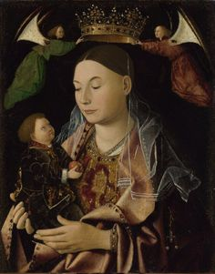 Antonello da Messina (possibly), c.1430-1479, Italian, The Virgin and Child, c.1460-9.  Oil on wood, 43.2 x 34.3 cm.  National Gallery, London.  Early Renaissance.