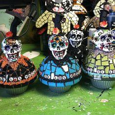 Mosaic Dia De Los Muertos Cupcake by mosaiccottage on Etsy