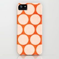 orange and white polka dots iPhone & iPod Case by her art