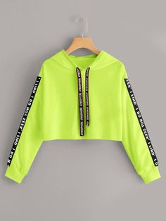 Neon Lime Letter Tape Drawstring Crop HoodieCheck out this Neon Lime Letter Tape Drawstring Crop Hoodie on Romwe and explore more to meet your fashion needs! Cute Lazy Outfits, Neon Outfits, Crop Top Outfits, Trendy Outfits, Grunge Outfits, Summer Shorts Outfits, Tomboy Outfits, Short Outfits, Chic Outfits