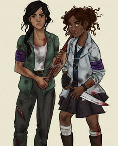 Reyna and Hazel Levesque in a Zombie AU #heroesofolympus #fanart  artist: http://incredibru.tumblr.com/post/79752794022/its-finally-finished-gotta-finish-my-finals-work
