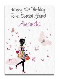 Handmade personalised girls granddaughter bambi 4th 5th 6th 7th birthday greeting cards for adults handmade personalised m4hsunfo