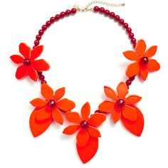 Rental kate spade new york accessories Red Lovely Lilies Statement... ($40) ❤ liked on Polyvore featuring jewelry, necklaces, red, red jewelry, beaded jewelry, red bead jewelry, long necklace and long statement necklace