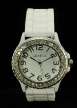 Crystal Large Round Face White/Silver Silicone Watch www.sterlingjewelrystores.com