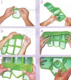 How to make PET bottle bag 07 How to make PET bottle bag 07 Reuse Plastic Bottles, Plastic Bottle Crafts, Bottle Bag, Pet Bottle, Recycled Bottle Crafts, Monogram Shirts, Craft Bags, Crochet Handbags, Knitted Bags