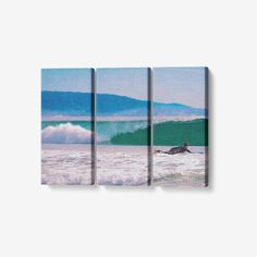 Surf's Up - 3 Piece Canvas Wall Art - Framed Ready to Hang 3x8x18 - 3 x 8 x 18 / Canvas Only(rolled)