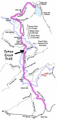 Teton Crest Trail Map