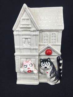 "Vintage Takahashi San Francisco Tom Cat Victorian Row House Ceramic Bank 6"" #Takahashi"