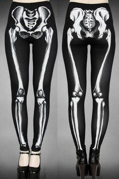 Skeleton Black Leggings by Restyle... y'all have no idea how bad i need these...