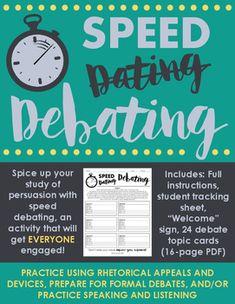 Speed Debating: Engaging Activity to Practice Debate, Ethos, Pathos, & Logos Argumentative Writing, Persuasive Writing, Teaching Writing, Teaching Strategies, Teaching English, Teaching Ideas, Teaching Tools, Avid Strategies, Teaching Kindness