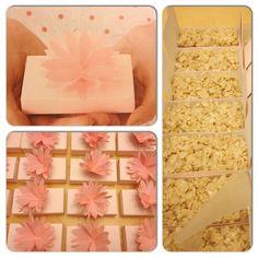 Marshmallow Rice Krispy Treats In Martha Stewart Water Lily Favor Boxes.