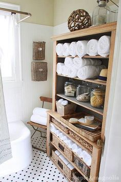 ~Like the jars old soaps like soaps from hotels unwrapped! And folding towels this way!