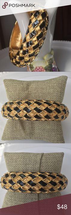 KJL Bangle Cuff Bracelet KJL Bangle classic black and gold . EUC . Oval shape Kenneth Jay Lane Jewelry Bracelets