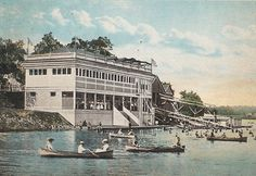 The Bathing Pavilion after being enlarged in 1905 with the addition of an observation deck and 125 changing rooms. It was eventually torn do...