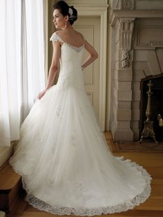 perfect a line wedding dress with lace cap sleeves and sweetheart neckline