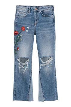 Kickflare High Ankle Jeans - Denimkék/virágos - NŐI   H&M HU