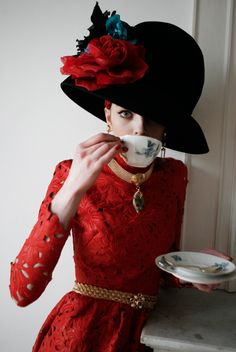 Valentino red lace and flower bedecked hat | Commons & Sense Issue 43, Autumn/Winter 2012