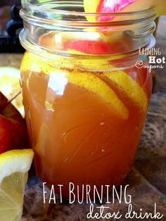 Fat Burning Detox Drink Recipe: 12 oz   water, 2 tbls apple cider vinegar, 1 tbls fresh lemon, 1 tspn cinnamon, 1 ply   stevia raw. Put all in silver bullet for about 10 sec.  Cut half an apple in 6   slices and add them to your drink moisture for about 10 min. Drink mixture then   eat apples, they taste really good! Drink daily!