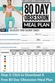 The 80 Day Obsession meal plan focuses on timed nutrition to get you max results fast. Find out how many color coded containers you need, when to eat and how to lose weight and get those flat abs you want! We include a free printable meal plan to help you get started! #80dayobsession #autumncalabrese