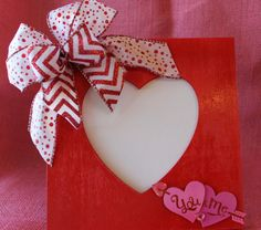 Sale!- Valentine's Day Wooden Table Top Frame with Chevron and Polka Dot Bow.  Valentine's decor. Valentine's Day Gift.  Valentine's Heart. on Etsy, $6.50