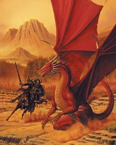 Artwork: crimson dawn by fantasy artist Larry Elmore. See more artwork by this featured artist on the fantasy gallery website. Dungeons And Dragons, Dragon Horse, Dragon Art, Red Dragon, Fantasy Creatures, Mythical Creatures, Savage Worlds, Dragon's Lair, Dnd Art