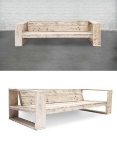 Three seat sofa, made of used scaffolding wood. Finishes: reclaimed scaffolding wood treated for outdoor. Size: 240(l) x 100(w) x 85(h) Size...