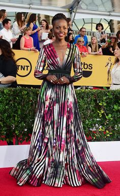 THE BEST LOOKS FROM THE SAG AWARDS RED CARPET Lupita Nyong'o Dress by Elie Saab.