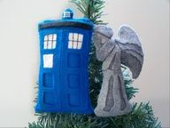 Weeping Angel and Tardis Christmas Ornaments