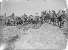 WW1,Somme 15 Sept 1916; Hauling an 18-pounder gun of the Royal Field Artillery…