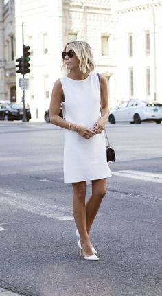 white out in the windy city. Love the Derek Lam 10 Crosby dress