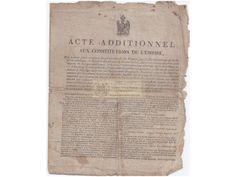 Acte additionnel à la constitution de l'Empire (22 avril 1815) - Les cent jours