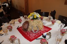 Cowboy western table decorations centerpieces baby shower party wedding