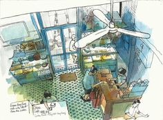 A great afternoon spent in this rare old Hong Kong cafe in Mong Kok. Pen And Watercolor, Watercolor Illustration, Graphic Illustration, Illustrations, Hong Kong Art, Watercolor Architecture, Perspective Art, Artist Journal, Urban Sketching
