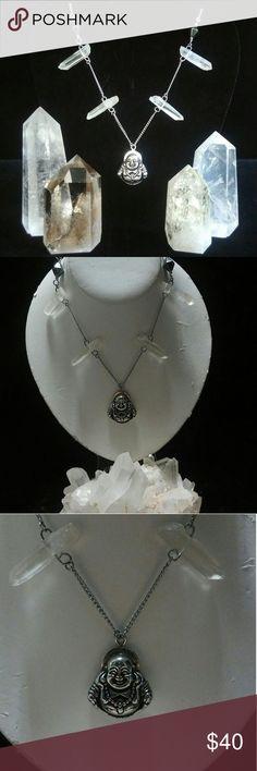 "Stainless Steel Buddha Quartz Necklace Quartz points on stainless steel chain and buddha.16"" chain length Accessories"