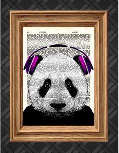 Panda with Pink Headphones Dictionary Art by AThousandWordsPrints, £5.00