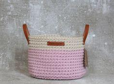 Handmade Crochet  Cotton Basket in cream/baby by regreenyourlife