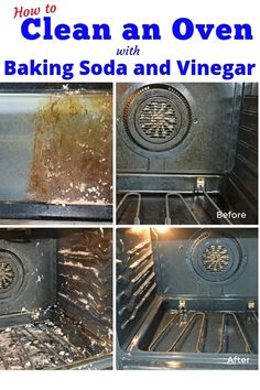 How to clean an oven naturally with baking soda and vinegar. This miracle solution will make your oven shine again. Step by step instructions. You'll be so happy! Deep Cleaning Tips, Oven Cleaning, Toilet Cleaning, House Cleaning Tips, Spring Cleaning, Cleaning Hacks, Cleaning Solutions, Cleaning Schedules, Cleaning Recipes