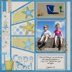 "Darling ""Cape Cod"" Beach Scrapping Page...love how the various strips look like they are dimensional!  Lindsay Jane - Gotta Pixel."