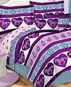 Country Living Purple & Blue Girls Pony Horse Twin Comforter Set Piece Bed In A Bag) Horse Themed Bedrooms, Bedroom Themes, Bedroom Ideas, Horse Rooms, Nice Bedrooms, Bedroom Crafts, Full Comforter Sets, Bedding Sets, Cowgirl Room
