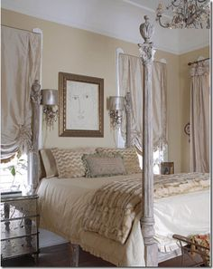Luxurious silk taffeta shades in a sexy New Orleans bedroom.  Curtains in Cote De Texas Blog Aug 2009  http://cotedetexas.blogspot.com/2009/08/top-ten-design-elements-4.html