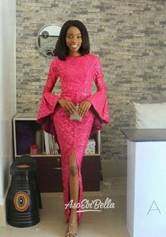 An is a wedding guest {bella} looking stunning in aso-ebi – the fabric/colours of the day, at a - BellaNaija Weddings. African Lace Styles, African Dresses For Women, African Attire, African Wear, African Fashion Dresses, African Women, Fashion Outfits, Ankara Styles, Ankara Designs