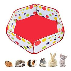 Amakunft Portable Small Animals Playpen, Outdoor/Indoor Pop Open Pet Exercise Fence, Guinea Pig Accessories Metal Wire Yard Fence C&C Cage Tent for Rabbits, Hamster, Chinchillas and Hedgehogs - S 3.1ft x 11.8in / Red